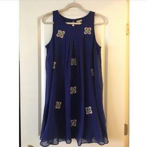 Anthropologie blue embellished shift dress